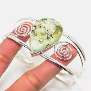 Mossy Agate silver cuff